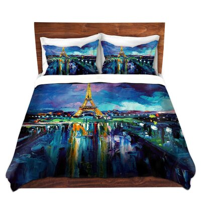 Parisian Night Eiffel Tower Duvet Set Size: Twin