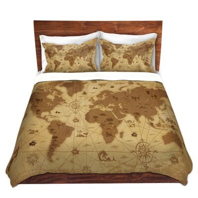Whimsical World Map I Duvet Set Size: Queen
