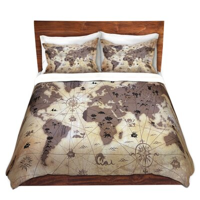 Whimsical World Map Duvet Set Size: Queen, Color: Tan/Gray/Black
