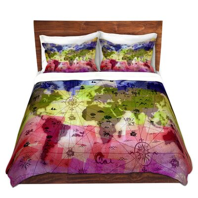 Whimsical World Map Duvet Set Size: Queen, Color: Red/Green/Blue