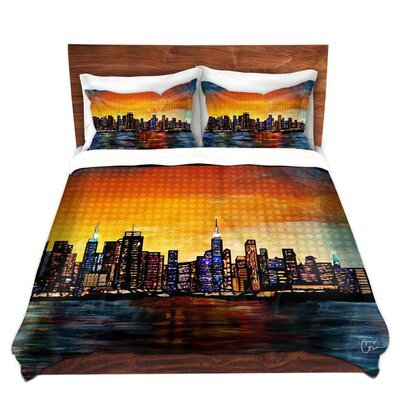 Contemporary City Scene Duvet Set Size: Queen
