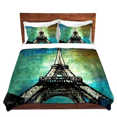 Paris Eiffel Tower Night Duvet Set Size: King