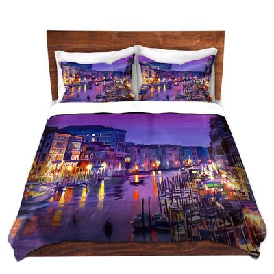 Romantic Venice Night Duvet Set Size: King