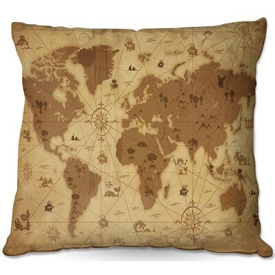 Whimsical World Map I Throw Pillow Size: 16 H x 16 W x 4 D