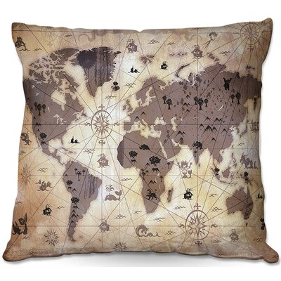 Whimsical World Map V Throw Pillow Size: 20 H x 20 W x 5 D