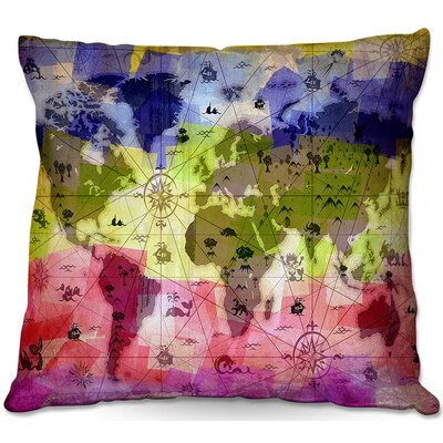 Whimsical World Map VI Throw Pillow Size: 16 H x 16 W x 4 D