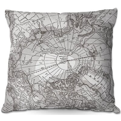 Arctic Map Throw Pillow Size: 22 H x 22 W x 5 D