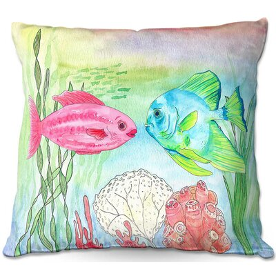 Fish and Coral Throw Pillow Size: 22 H x 22 W x 5 D
