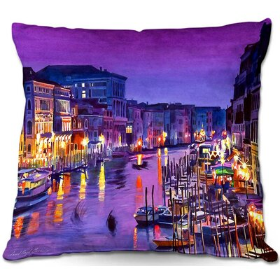 Romantic Venice Night Throw Pillow Size: 22 H x 22 W x 5 D