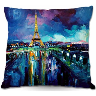 Parisian Night Eiffel Tower Throw Pillow Size: 22 H x 22 W x 5 D