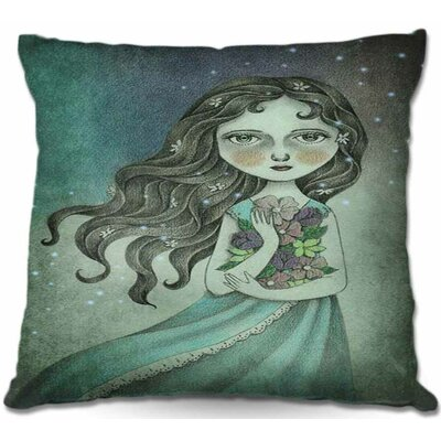 Girl with Flower Throw Pillow Size: 22