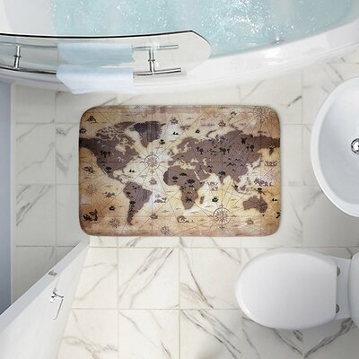 Angelina Vicks Whimsical World Map V Memory Foam Bath Rug Size: 17 W x 24 L