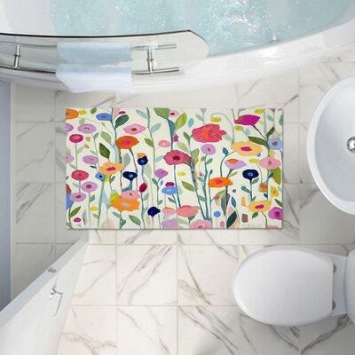 Flowers Memory Foam Bath Rug Size: 24 W x 17 L