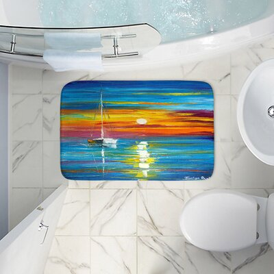 Lost at Sea Memory Foam Bath Rug Size: 24 W x 17 L