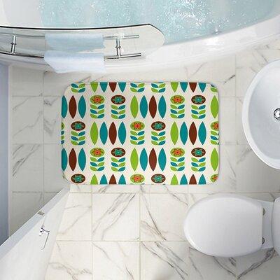 Mid Century Spring Floral Memory Foam Bath Rug Size: 24 W x 17 L