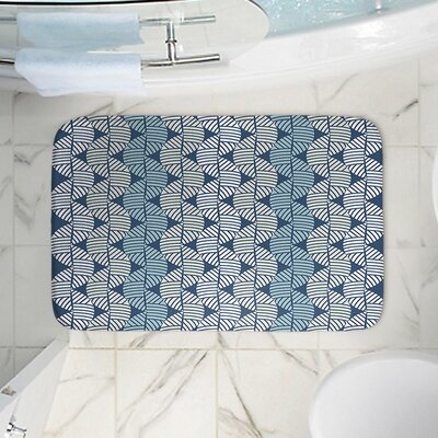 Waves on Memory Foam Bath Rug Size: 17 W x 24 L