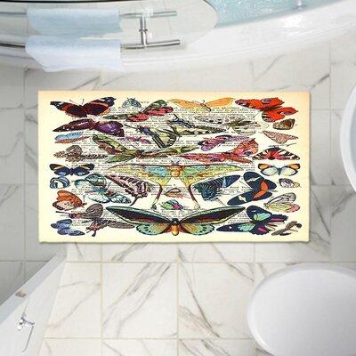 Butterflies Memento Memory Foam Bath Rug Size: 24 W x 17 L