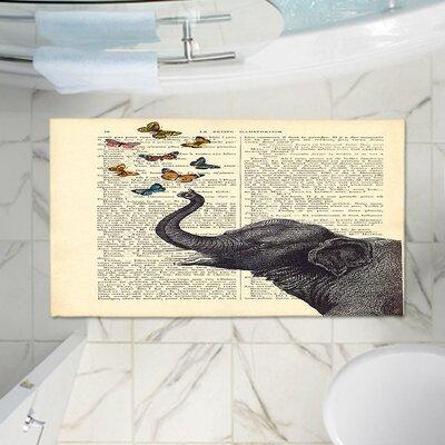Elephant Butterflies Memory Foam Bath Rug Size: 24 W x 17 L