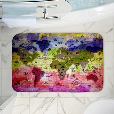 Angelina Vicks Whimsical World Map VI Memory Foam Bath Rug Size: 24 W x 17 L
