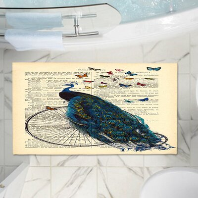 Peacock Bicycle Butterflies Memory Foam Bath Rug Size: 17 W x 24 L