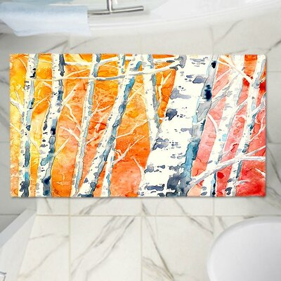 CrownPoint Falling for Colour Birch Trees Memory Foam Bath Rug Size: 24 W x 36 L
