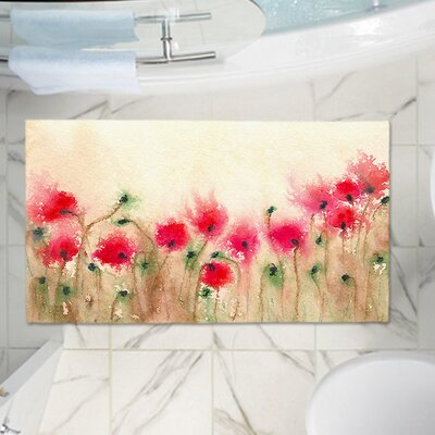 Dunellen Field of Poppies Memory Foam Bath Rug Size: 36 W x 24 L