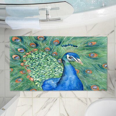 Castillo Splendor Peacock Memory Foam Bath Rug Size: 24 W x 17 L