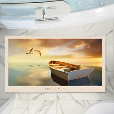 Carlos Casamayors The Lovers Birds and Boats Memory Foam Bath Rug Size: 17 W x 24 L