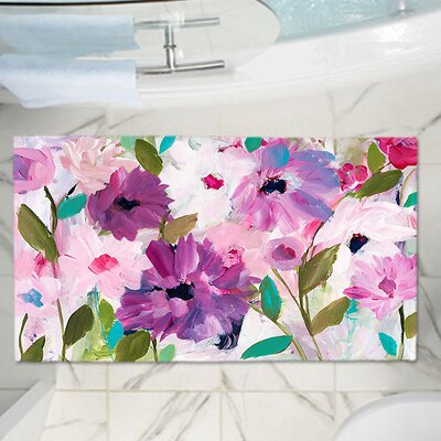 Blossoming Flowers Memory Foam Bath Rug Size: 17 W x 24 L