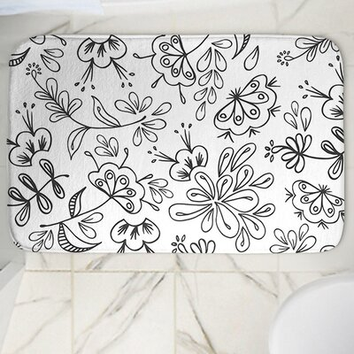 Band with Flora Memory Foam Bath Rug Size: 24 W x 17 L