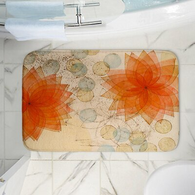 Spacey Flowers Memory Foam Bath Rug Size: 24 W x 17 L