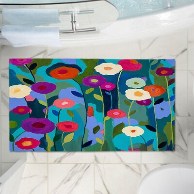 Contemporary Flowers Memory Foam Bath Rug Size: 24 W x 17 L