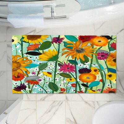 Sunflower Memory Foam Bath Rug Size: 24 W x 17 L
