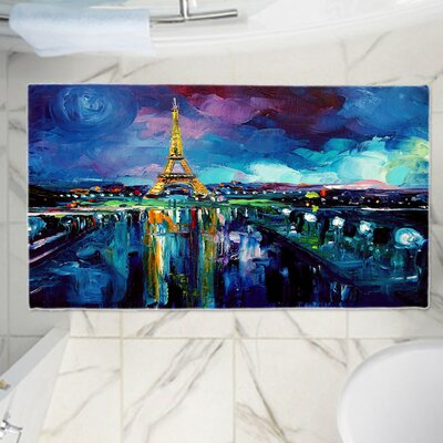 Aja Anns Parisian Night Eiffel Tower Memory Foam Bath Rug Size: 24 W x 17 L