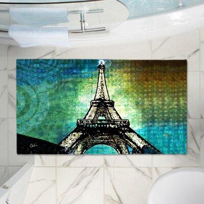 Corina Bakkes Eiffel Tower Memory Foam Bath Rug Size: 24 W x 36 L