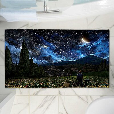 Alex Ruizs Starry Night Memory Foam Bath Rug Size: 24 W x 36 L