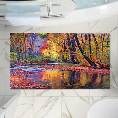 David Lloyd Glovers Forest Fall Memory Foam Bath Rug Size: 24 W x 17 L