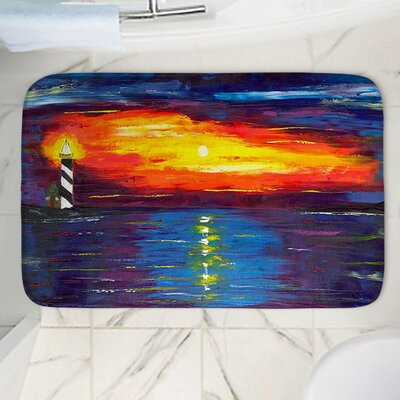 Sunset at Lighthouse Memory Foam Bath Rug Size: 24 W x 17 L