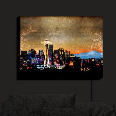 'Seattle Skyline' Print on Wood