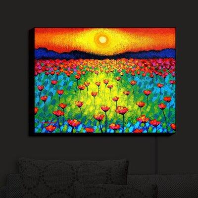 'Sunlit Poppies' Print on Wood