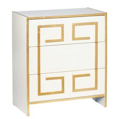Greek Key 3 Drawer Dresser Chest
