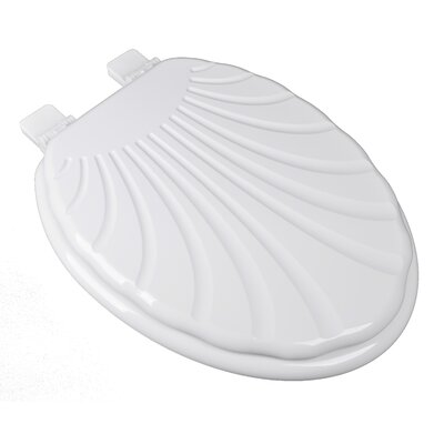 Sculpted Seashell Molded Wood Elongated Toilet Seat