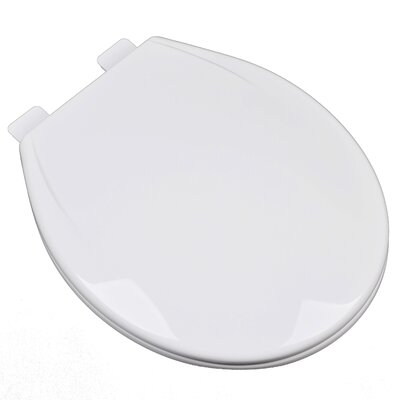 Slow Close Plastic Contemporary Round Toilet Seat Finish: Cotton White (Bright White)
