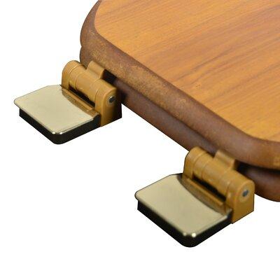 Wood Decorative Elongated Toilet Seat Finish: Light Oak, Hinge Finish: Polished Brass