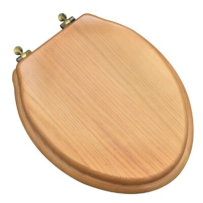 Designer Solid Oak Wood Elongated Toilet Seat Finish: Natural Red Oak, Hinge Finish: Antique Brass