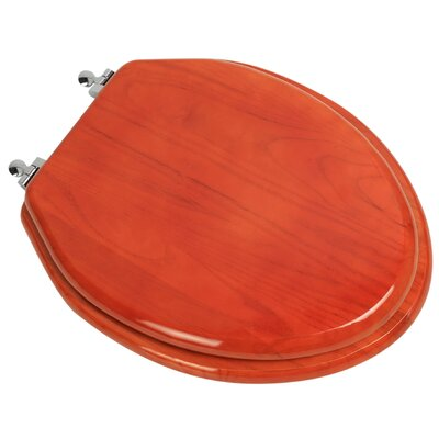 Designer Solid Oak Wood Elongated Toilet Seat Finish: American Red Cherry, Hinge Finish: Chrome