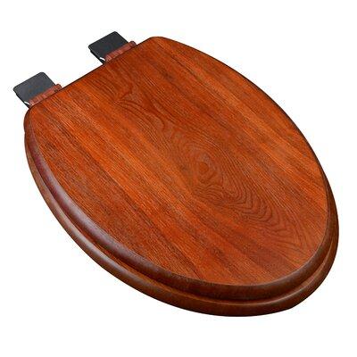 Wood Decorative Elongated Toilet Seat Hinge Finish: Chrome, Finish: American Red Cherry