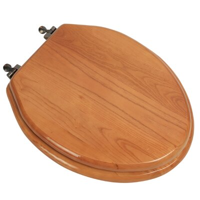 Designer Solid Oak Wood Elongated Toilet Seat Finish: Natural Red Oak, Hinge Finish: Oil Rubbed Bronze