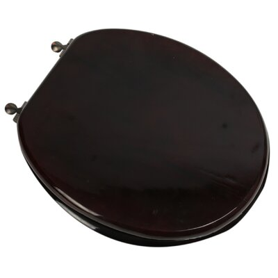 Designer Solid Oak Wood Round Toilet Seat Finish: Mahogany, Hinge Finish: Oil Rubbed Bronze