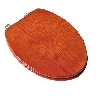 Contemporary Full Cover Solid Oak Wood Elongated Toilet Seat Finish: American Red Cherry